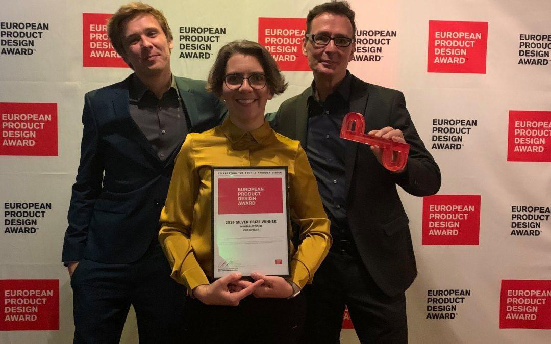Preisverleihung in Budapest – Silver – European Product Design Award 2019: minimalisTisch+Hocker+Tasche